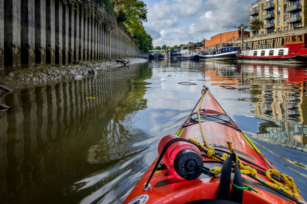 Kayaking in Brentford Lock, River Thames, London, UK