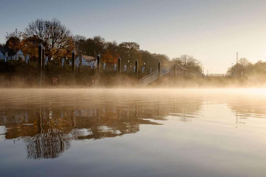 Teddington Weir on the River Thames, London, UK