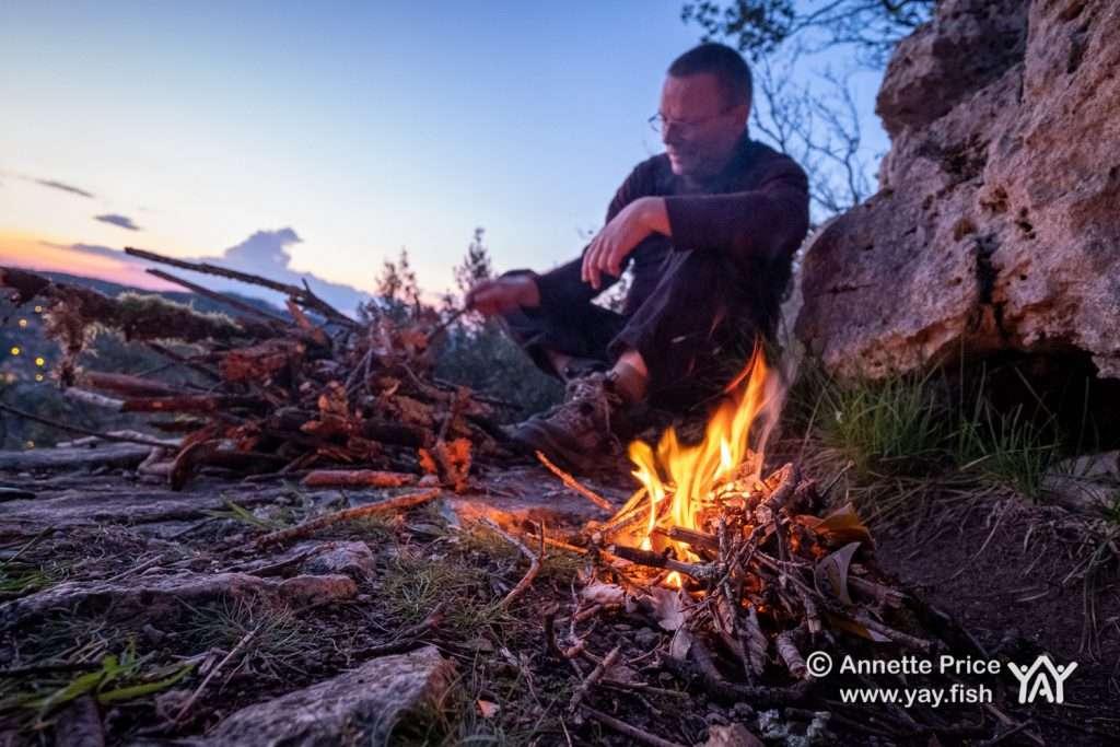 Evening campfire. Wild camping, Castelnaud-la-Chapelle, Dordogne, France