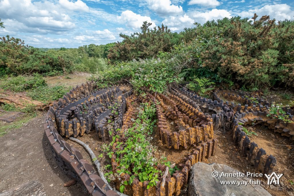 Wartime tank training remains. Disused Pit Head, Hazeley Heath, Hampshire, UK.
