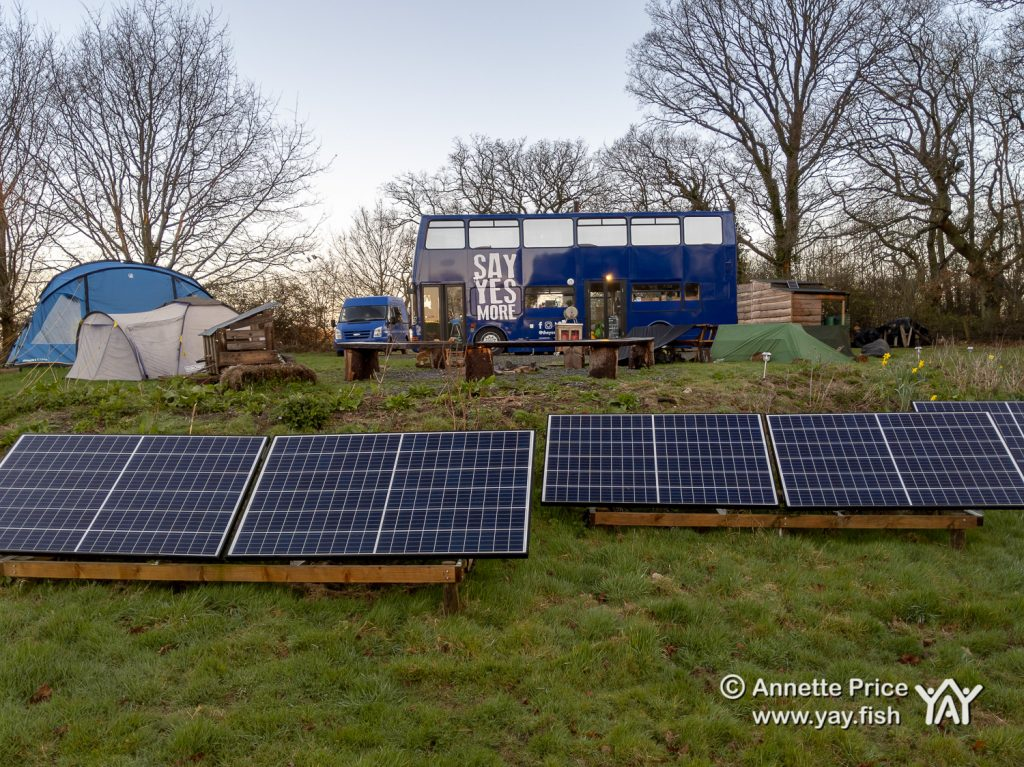 The bus is solar powered. Wild camping course at the Yes Bus. Part of Say Yes More. West Sussex, UK.