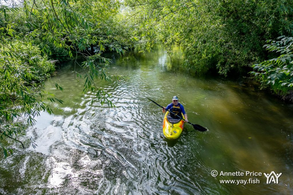 A kayak paddler enjoying St Patrick's Stream, near Shiplake, UK.